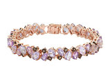 Pink Amethyst and Synthetic Smokey Topaz Bracelet 17 Carats (ctw) in Sterling Silver with Rose Pink Plating